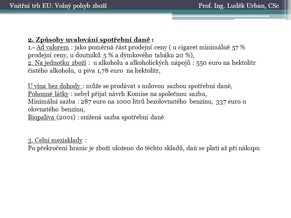 Prof. Ing. Luděk Urban, CScVnitřní trh EU: Volný pohyb zboží 2.