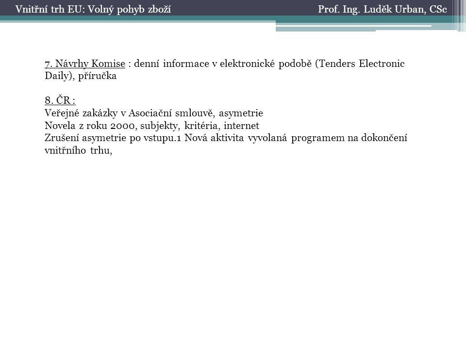 Prof. Ing. Luděk Urban, CScVnitřní trh EU: Volný pohyb zboží 7.