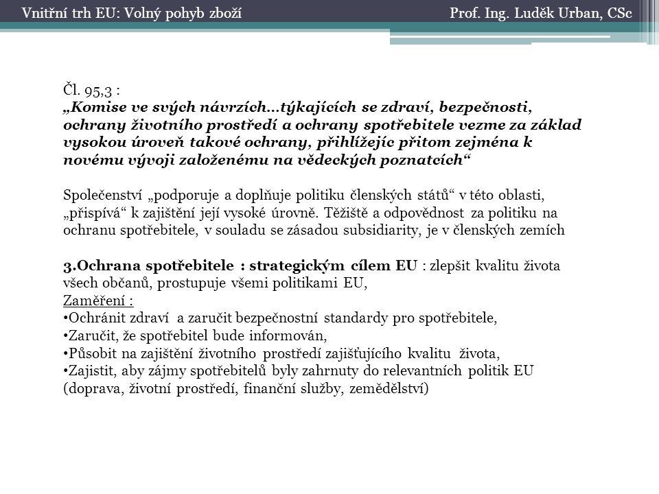 Prof. Ing. Luděk Urban, CScVnitřní trh EU: Volný pohyb zboží Čl.