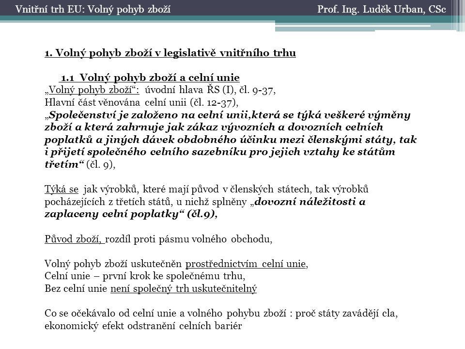 Prof. Ing. Luděk Urban, CScVnitřní trh EU: Volný pohyb zboží 1.