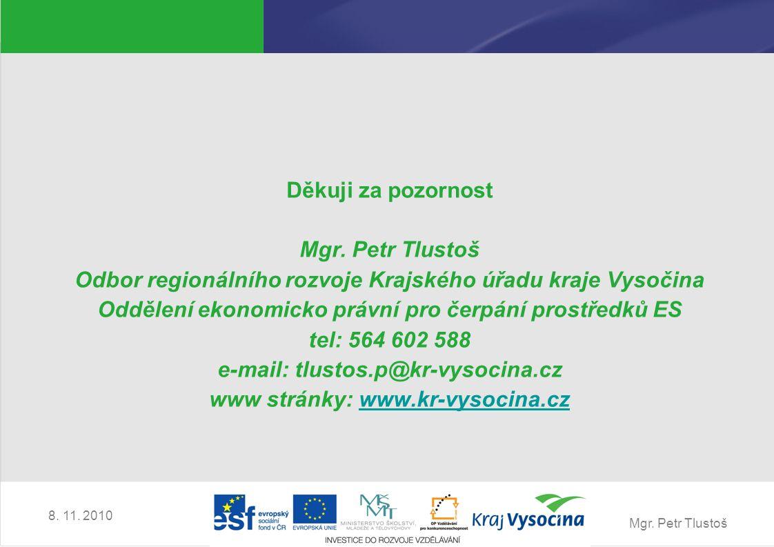 Mgr. Petr Tlustoš 8. 11. 2010 Děkuji za pozornost Mgr.