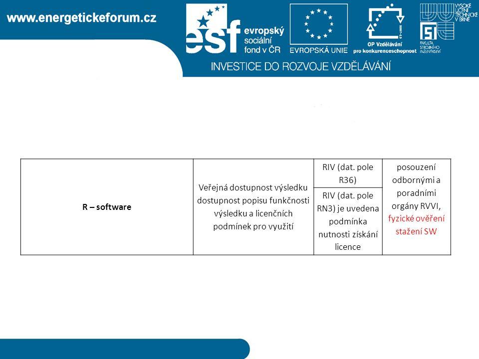 R – software Veřejná dostupnost výsledku dostupnost popisu funkčnosti výsledku a licenčních podmínek pro využití RIV (dat.