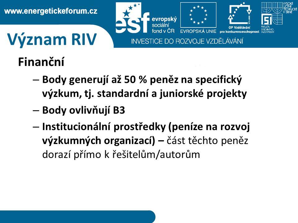 Význam RIV Finanční – Body generují až 50 % peněz na specifický výzkum, tj.