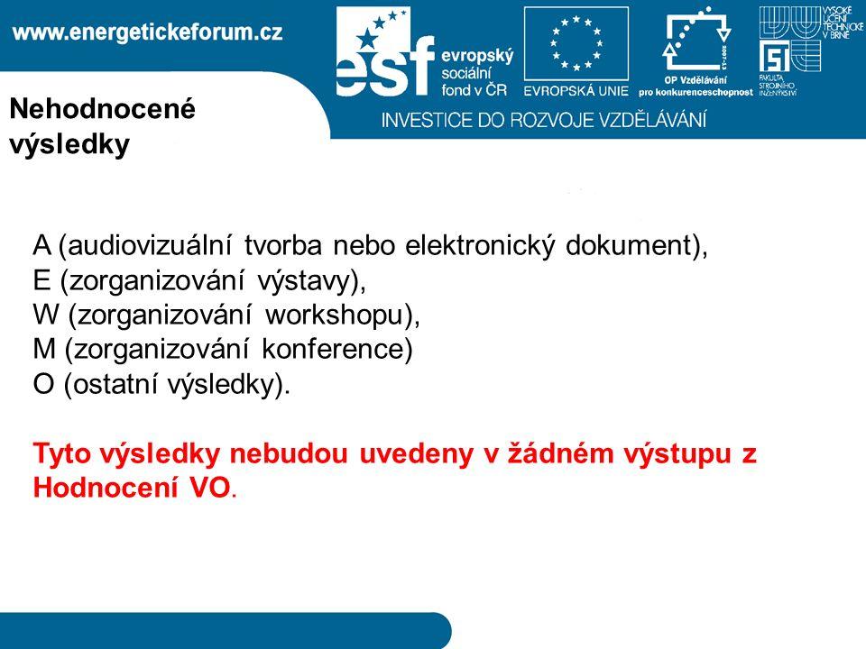 A (audiovizuální tvorba nebo elektronický dokument), E (zorganizování výstavy), W (zorganizování workshopu), M (zorganizování konference) O (ostatní výsledky).