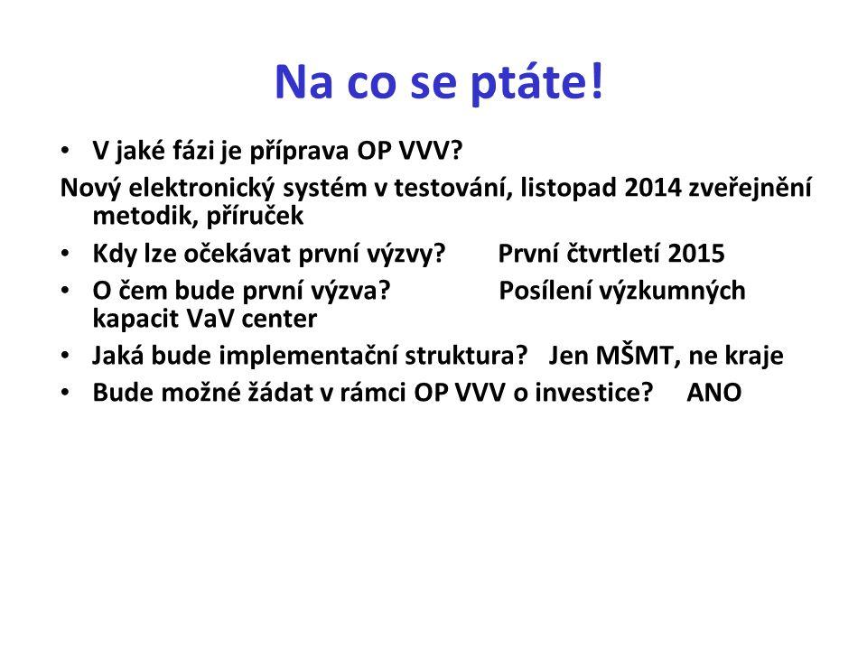 Na co se ptáte. V jaké fázi je příprava OP VVV.