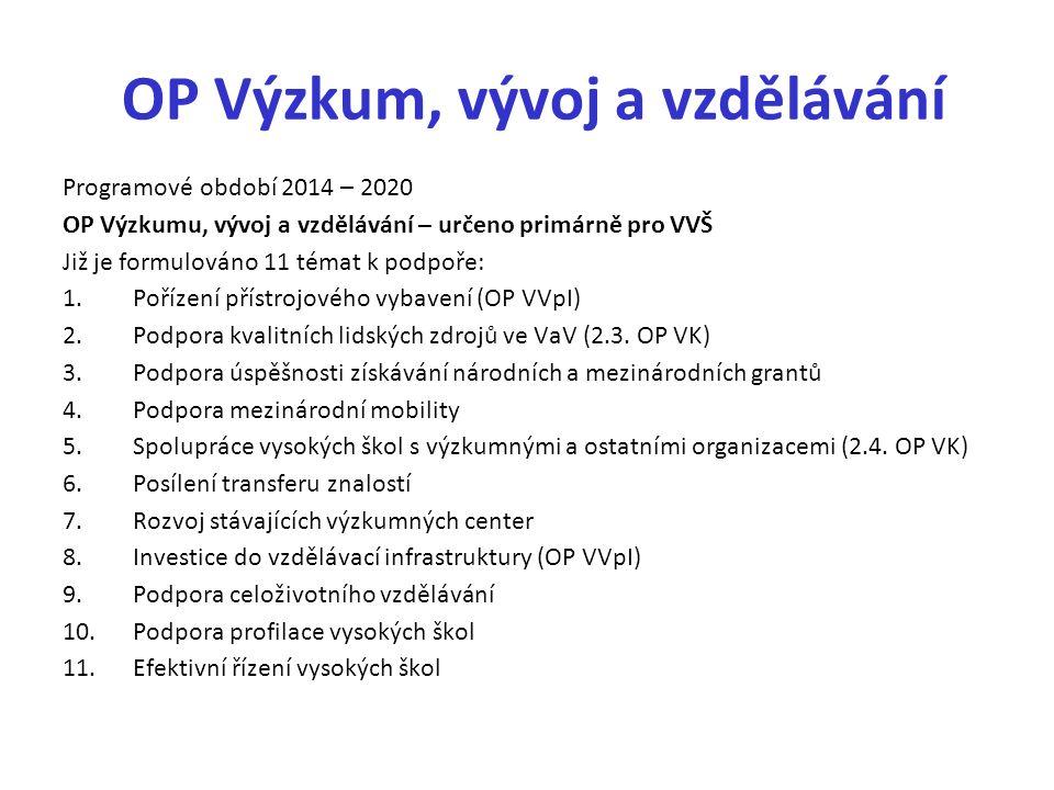 OP Výzkum, vývoj a vzdělávání Programové období 2014 – 2020 OP Výzkumu, vývoj a vzdělávání – určeno primárně pro VVŠ Již je formulováno 11 témat k podpoře: 1.Pořízení přístrojového vybavení (OP VVpI) 2.Podpora kvalitních lidských zdrojů ve VaV (2.3.