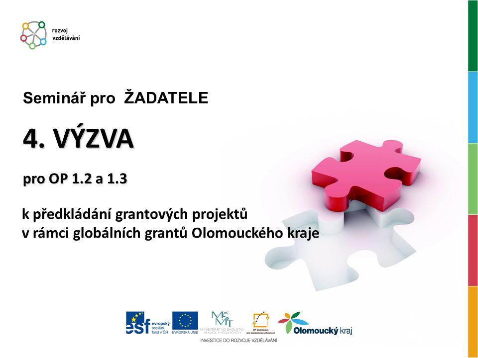 k předkládání grantových projektů v rámci globálních grantů Olomouckého kraje 4.
