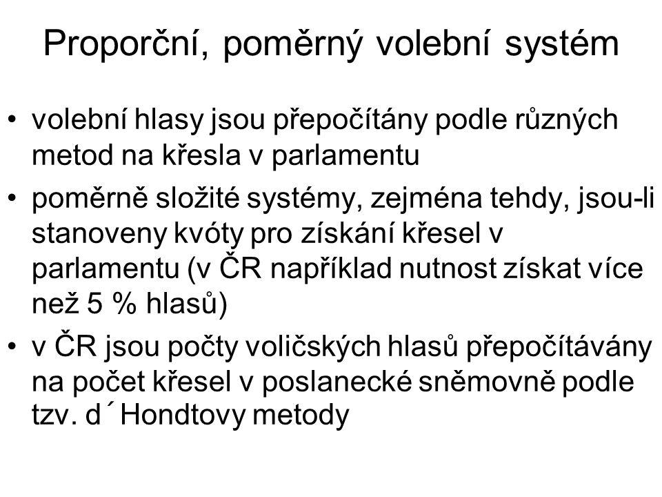 Proporční, poměrný volební systém volební hlasy jsou přepočítány podle různých metod na křesla v parlamentu poměrně složité systémy, zejména tehdy, jsou-li stanoveny kvóty pro získání křesel v parlamentu (v ČR například nutnost získat více než 5 % hlasů) v ČR jsou počty voličských hlasů přepočítávány na počet křesel v poslanecké sněmovně podle tzv.