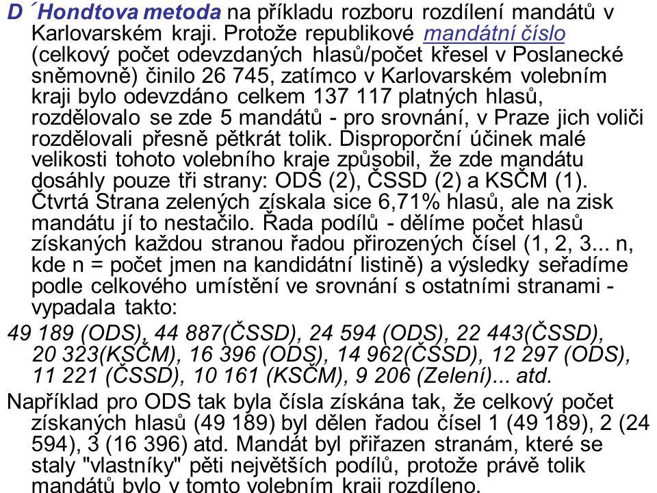 D´Hondtova metoda na příkladu rozboru rozdílení mandátů v Karlovarském kraji.