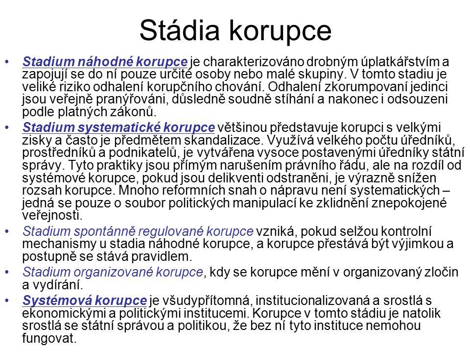 Stádia korupce Stadium náhodné korupce je charakterizováno drobným úplatkářstvím a zapojují se do ní pouze určité osoby nebo malé skupiny.