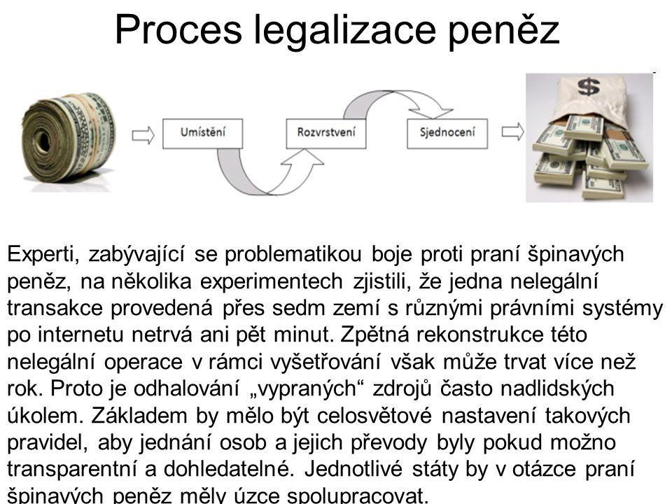 Proces legalizace peněz Experti, zabývající se problematikou boje proti praní špinavých peněz, na několika experimentech zjistili, že jedna nelegální transakce provedená přes sedm zemí s různými právními systémy po internetu netrvá ani pět minut.