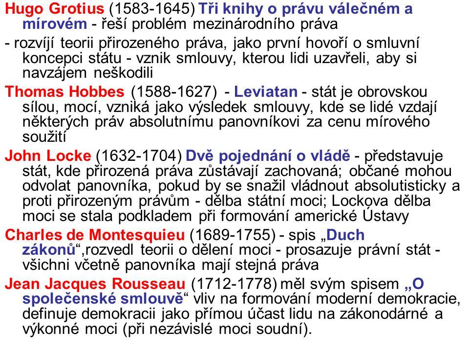 """Hugo Grotius (1583-1645) Tři knihy o právu válečném a mírovém - řeší problém mezinárodního práva - rozvíjí teorii přirozeného práva, jako první hovoří o smluvní koncepci státu - vznik smlouvy, kterou lidi uzavřeli, aby si navzájem neškodili Thomas Hobbes (1588-1627) - Leviatan - stát je obrovskou sílou, mocí, vzniká jako výsledek smlouvy, kde se lidé vzdají některých práv absolutnímu panovníkovi za cenu mírového soužití John Locke (1632-1704) Dvě pojednání o vládě - představuje stát, kde přirozená práva zůstávají zachovaná; občané mohou odvolat panovníka, pokud by se snažil vládnout absolutisticky a proti přirozeným právům - dělba státní moci; Lockova dělba moci se stala podkladem při formování americké Ústavy Charles de Montesquieu (1689-1755) - spis """"Duch zákonů ,rozvedl teorii o dělení moci - prosazuje právní stát - všichni včetně panovníka mají stejná práva Jean Jacques Rousseau (1712-1778) měl svým spisem """"O společenské smlouvě vliv na formování moderní demokracie, definuje demokracii jako přímou účast lidu na zákonodárné a výkonné moci (při nezávislé moci soudní)."""