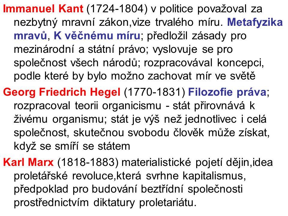 Immanuel Kant (1724-1804) v politice považoval za nezbytný mravní zákon,vize trvalého míru.