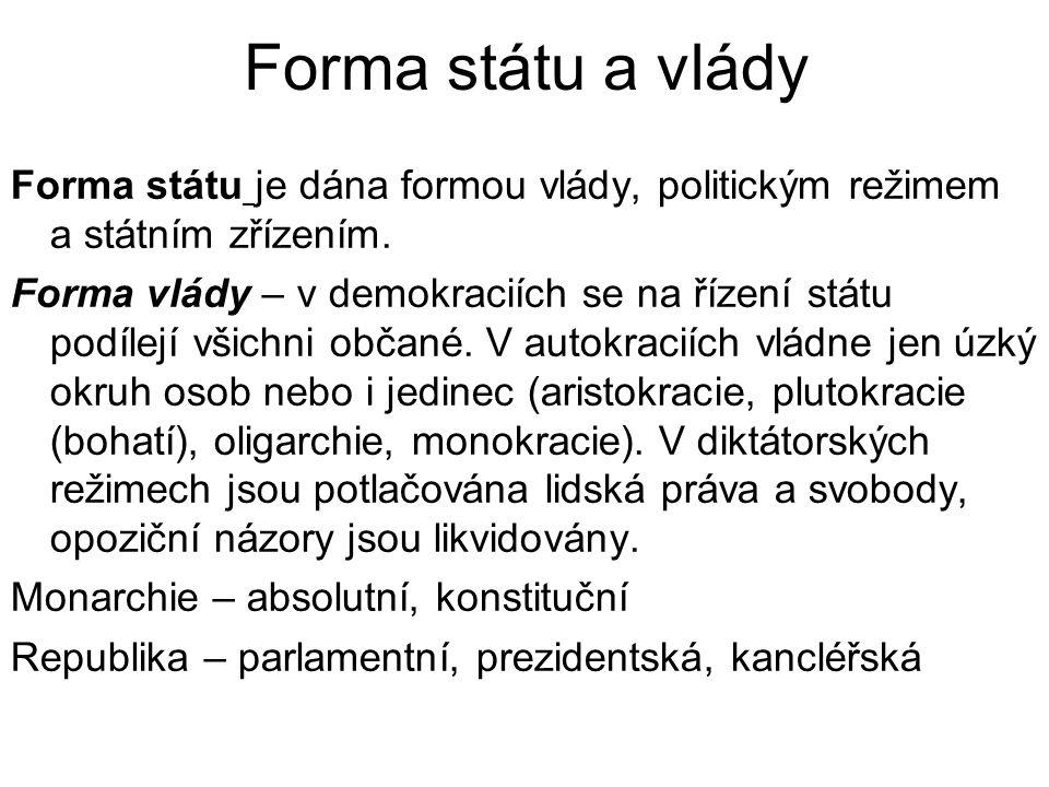 Forma státu a vlády Forma státu je dána formou vlády, politickým režimem a státním zřízením.