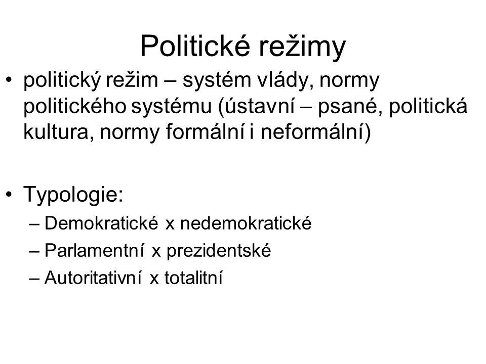 Politické režimy politický režim – systém vlády, normy politického systému (ústavní – psané, politická kultura, normy formální i neformální) Typologie: –Demokratické x nedemokratické –Parlamentní x prezidentské –Autoritativní x totalitní
