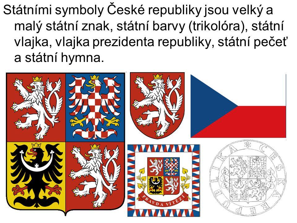 Státními symboly České republiky jsou velký a malý státní znak, státní barvy (trikolóra), státní vlajka, vlajka prezidenta republiky, státní pečeť a státní hymna.