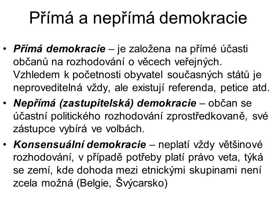 Přímá a nepřímá demokracie Přímá demokracie – je založena na přímé účasti občanů na rozhodování o věcech veřejných.