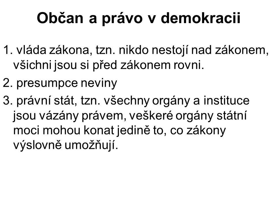 Občan a právo v demokracii 1. vláda zákona, tzn.