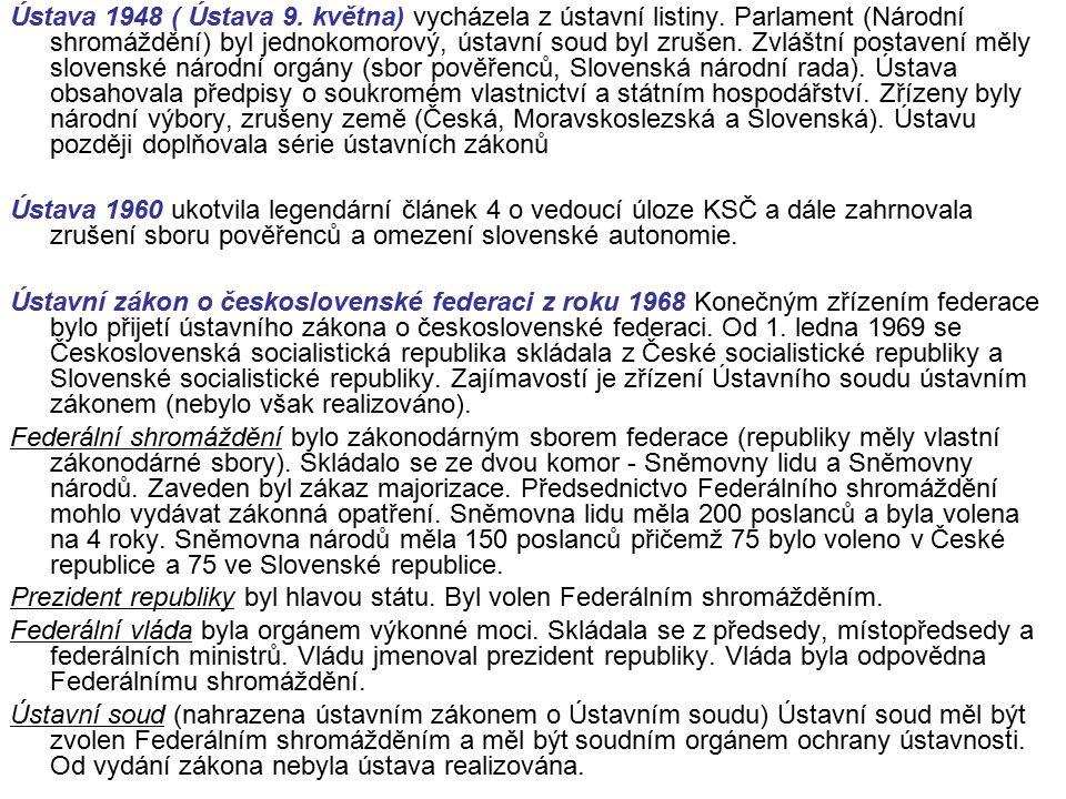 Ústava 1948 ( Ústava 9. května) vycházela z ústavní listiny.