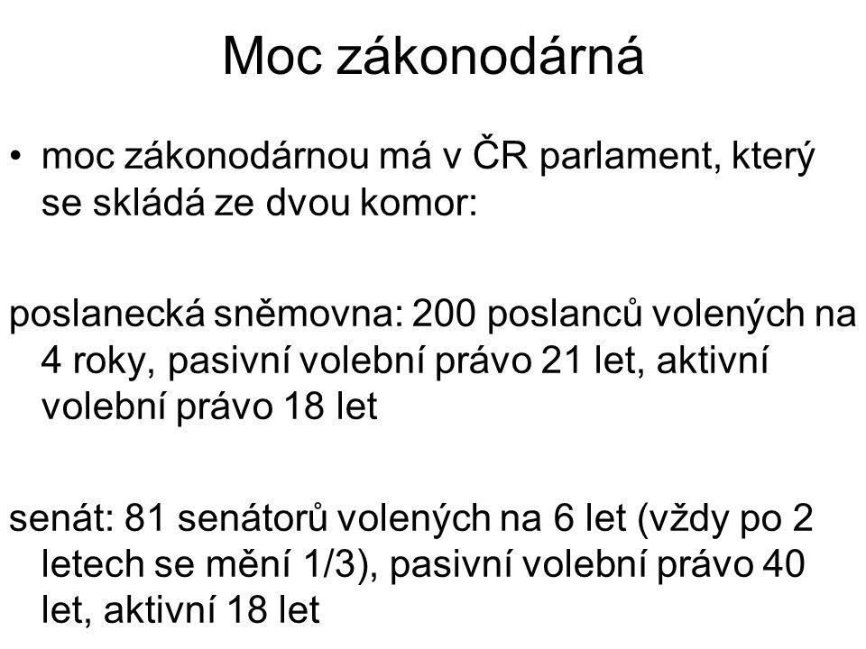 Moc zákonodárná moc zákonodárnou má v ČR parlament, který se skládá ze dvou komor: poslanecká sněmovna: 200 poslanců volených na 4 roky, pasivní volební právo 21 let, aktivní volební právo 18 let senát: 81 senátorů volených na 6 let (vždy po 2 letech se mění 1/3), pasivní volební právo 40 let, aktivní 18 let