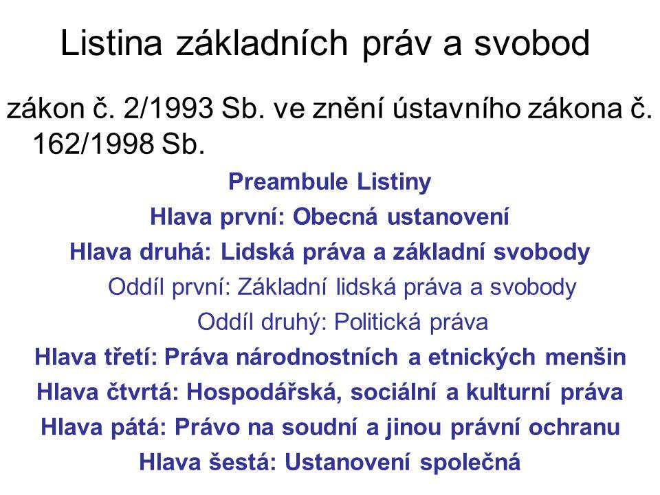 zákon č. 2/1993 Sb. ve znění ústavního zákona č.