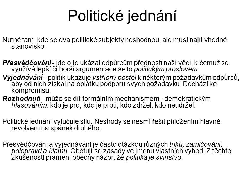 Politické jednání Nutné tam, kde se dva politické subjekty neshodnou, ale musí najít vhodné stanovisko.