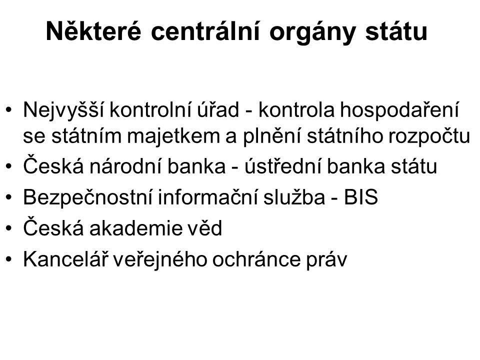 Některé centrální orgány státu Nejvyšší kontrolní úřad - kontrola hospodaření se státním majetkem a plnění státního rozpočtu Česká národní banka - ústřední banka státu Bezpečnostní informační služba - BIS Česká akademie věd Kancelář veřejného ochránce práv
