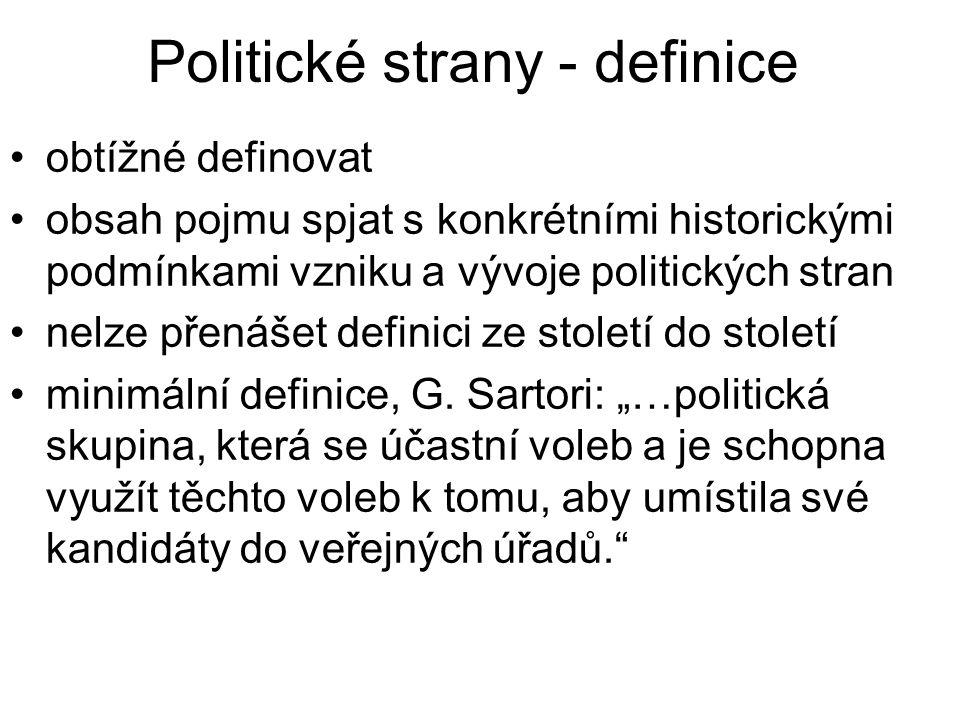 Politické strany - definice obtížné definovat obsah pojmu spjat s konkrétními historickými podmínkami vzniku a vývoje politických stran nelze přenášet definici ze století do století minimální definice, G.