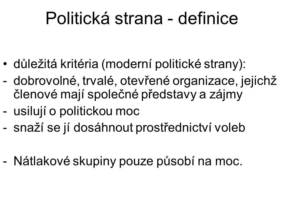 Politická strana - definice důležitá kritéria (moderní politické strany): -dobrovolné, trvalé, otevřené organizace, jejichž členové mají společné představy a zájmy -usilují o politickou moc -snaží se jí dosáhnout prostřednictví voleb -Nátlakové skupiny pouze působí na moc.