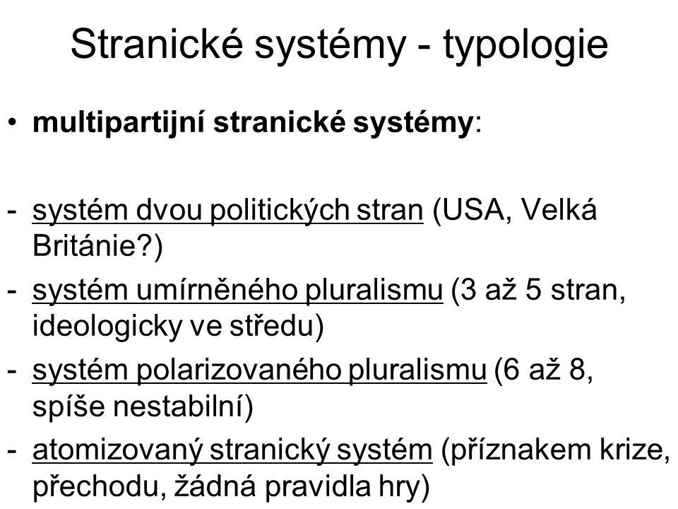 Stranické systémy - typologie multipartijní stranické systémy: -systém dvou politických stran (USA, Velká Británie ) -systém umírněného pluralismu (3 až 5 stran, ideologicky ve středu) -systém polarizovaného pluralismu (6 až 8, spíše nestabilní) -atomizovaný stranický systém (příznakem krize, přechodu, žádná pravidla hry)