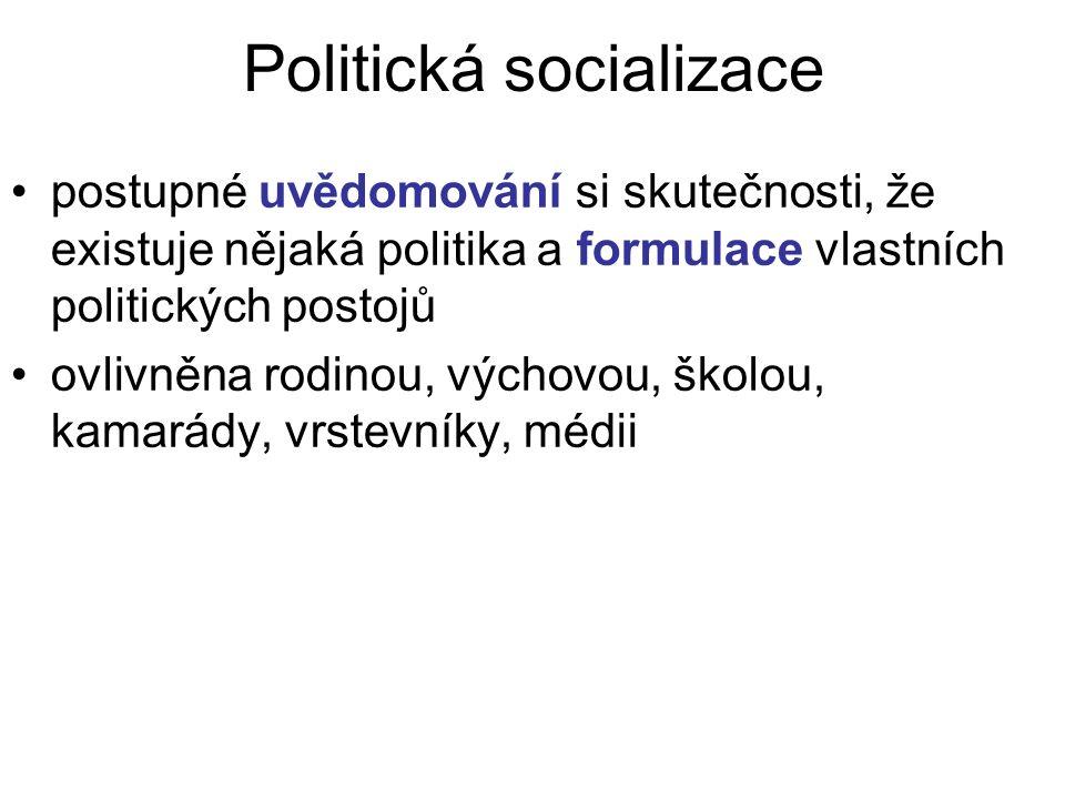 Politická socializace postupné uvědomování si skutečnosti, že existuje nějaká politika a formulace vlastních politických postojů ovlivněna rodinou, výchovou, školou, kamarády, vrstevníky, médii