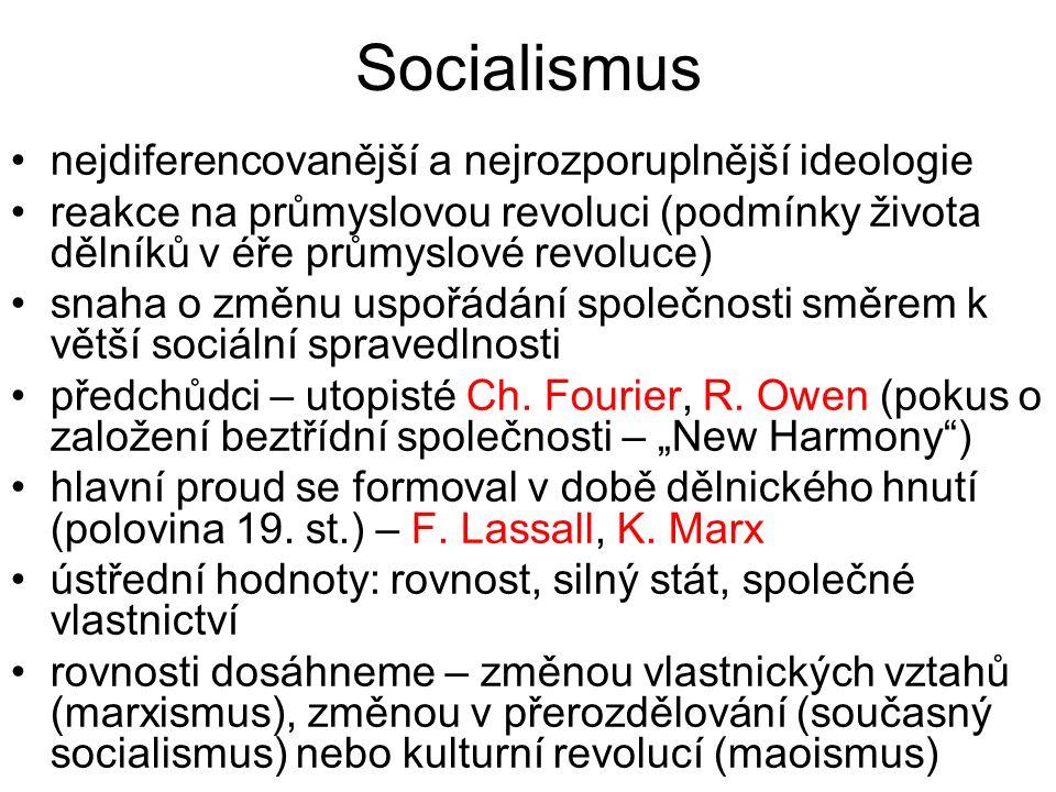 Socialismus nejdiferencovanější a nejrozporuplnější ideologie reakce na průmyslovou revoluci (podmínky života dělníků v éře průmyslové revoluce) snaha o změnu uspořádání společnosti směrem k větší sociální spravedlnosti předchůdci – utopisté Ch.