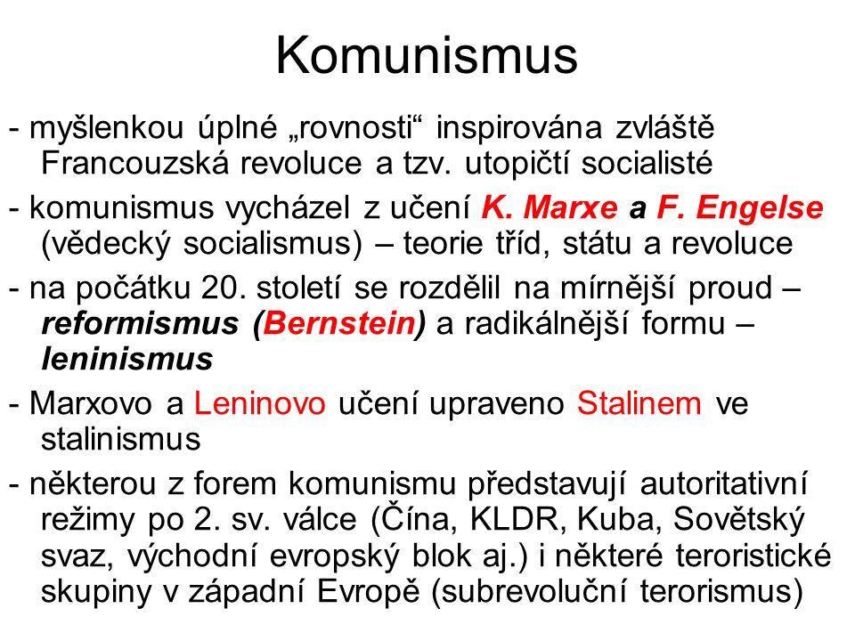 """Komunismus - myšlenkou úplné """"rovnosti inspirována zvláště Francouzská revoluce a tzv."""