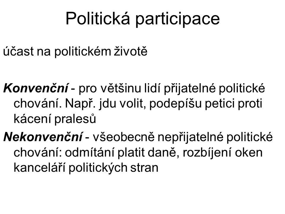 Politická participace účast na politickém životě Konvenční - pro většinu lidí přijatelné politické chování.