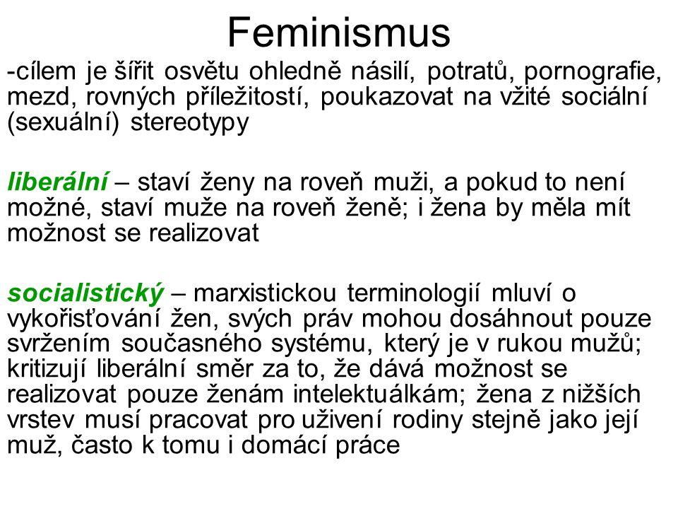 Feminismus -cílem je šířit osvětu ohledně násilí, potratů, pornografie, mezd, rovných příležitostí, poukazovat na vžité sociální (sexuální) stereotypy liberální – staví ženy na roveň muži, a pokud to není možné, staví muže na roveň ženě; i žena by měla mít možnost se realizovat socialistický – marxistickou terminologií mluví o vykořisťování žen, svých práv mohou dosáhnout pouze svržením současného systému, který je v rukou mužů; kritizují liberální směr za to, že dává možnost se realizovat pouze ženám intelektuálkám; žena z nižších vrstev musí pracovat pro uživení rodiny stejně jako její muž, často k tomu i domácí práce