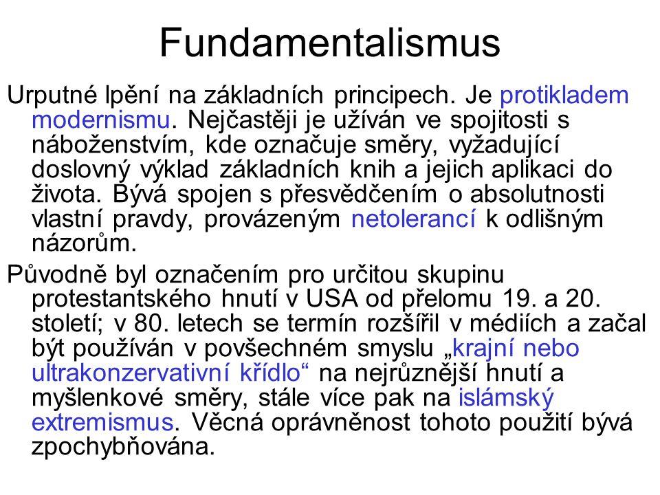 Fundamentalismus Urputné lpění na základních principech.