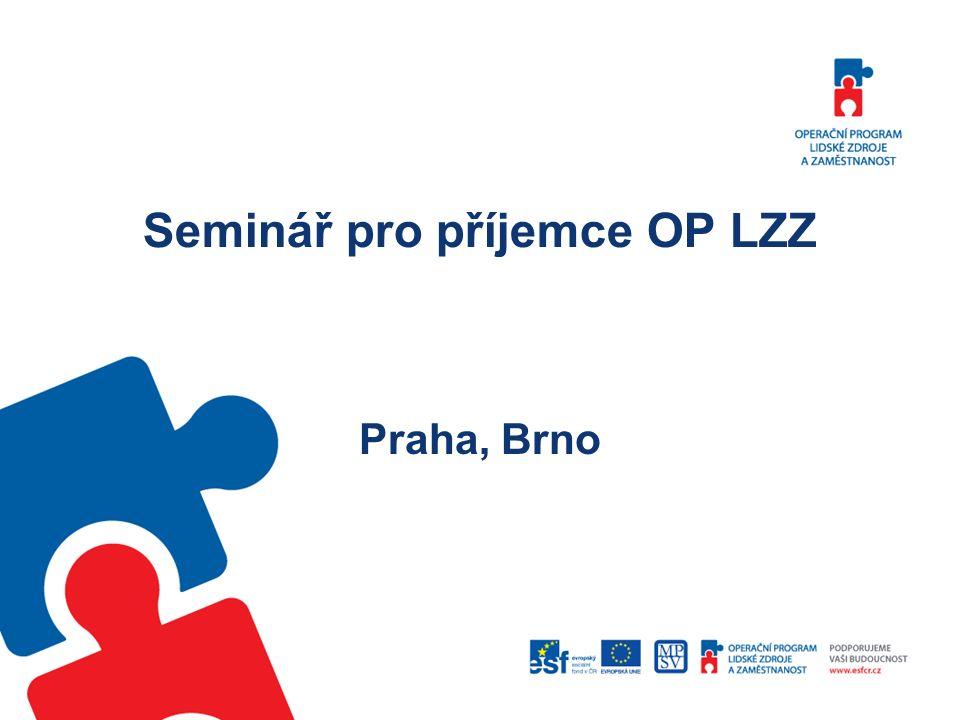Dodržování povinného minima publicity OP LZZ Každá akce spolufinancovaná z prostředků OP LZZ musí být uvedena informací o tom, že je financována z prostředků ESF prostřednictvím Operačního programu Lidské zdroje a zaměstnanost a státního rozpočtu ČR.