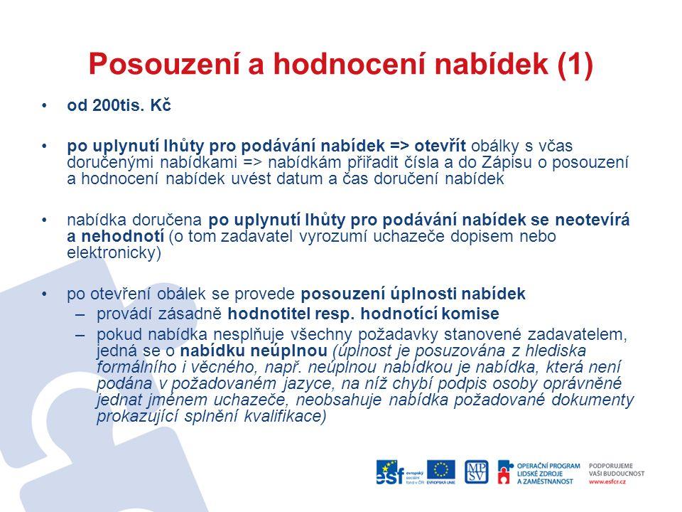 Posouzení a hodnocení nabídek (1) od 200tis.