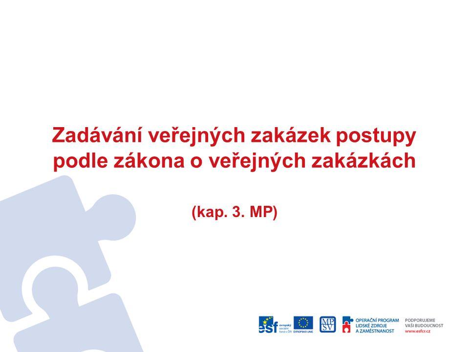 Zadávání veřejných zakázek postupy podle zákona o veřejných zakázkách (kap. 3. MP)
