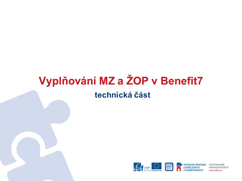 Vyplňování MZ a ŽOP v Benefit7 technická část