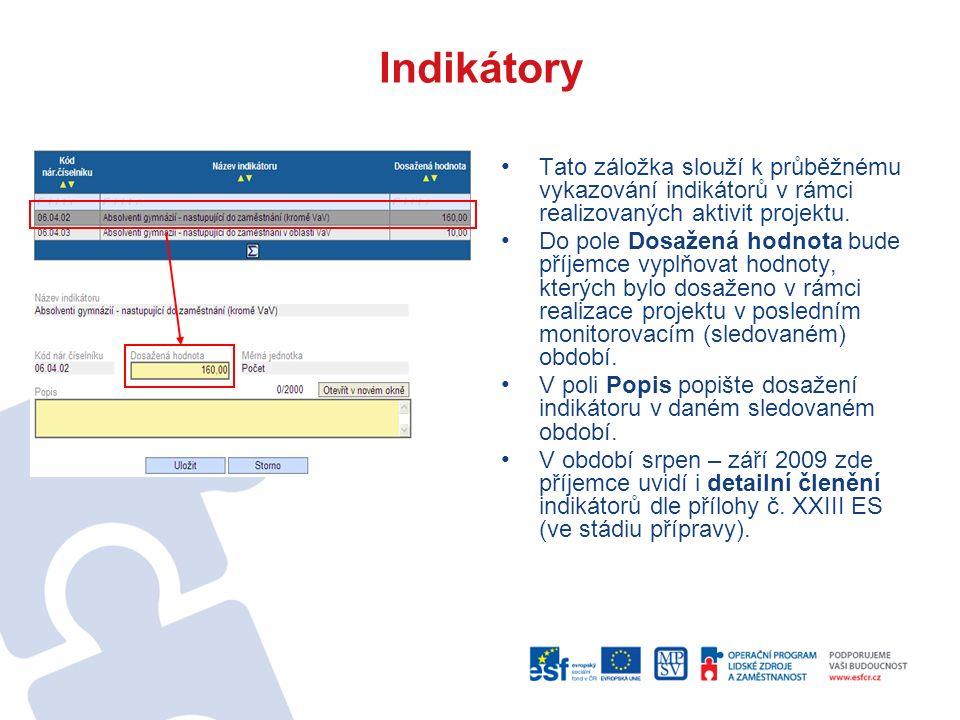Indikátory Tato záložka slouží k průběžnému vykazování indikátorů v rámci realizovaných aktivit projektu.