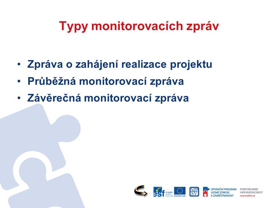 Typy monitorovacích zpráv Zpráva o zahájení realizace projektu Průběžná monitorovací zpráva Závěrečná monitorovací zpráva