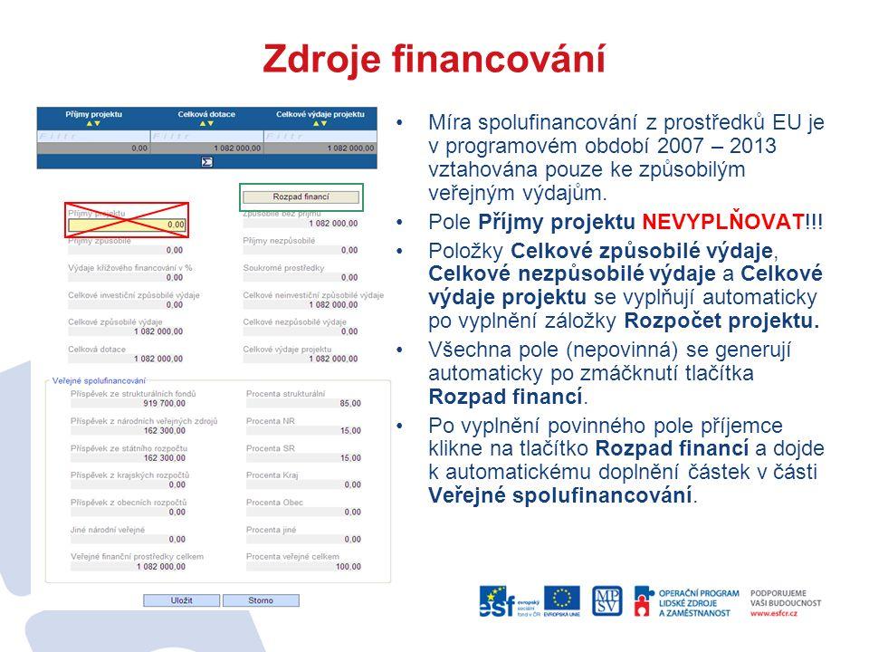 Zdroje financování Míra spolufinancování z prostředků EU je v programovém období 2007 – 2013 vztahována pouze ke způsobilým veřejným výdajům.