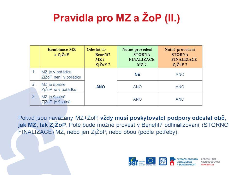Pravidla pro MZ a ŽoP (II.) Kombinace MZ a ZjŽoP Odeslat do Benefit7 MZ i ZjŽoP .