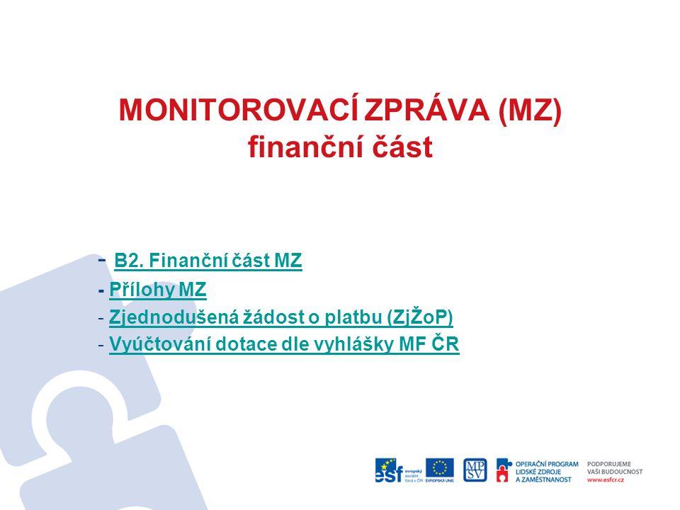 MONITOROVACÍ ZPRÁVA (MZ) finanční část - B2. Finanční část MZ B2.
