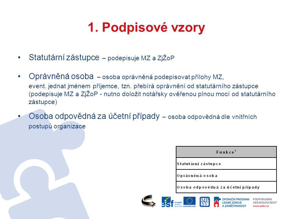 1. Podpisové vzory Statutární zástupce – podepisuje MZ a ZjŽoP Oprávněná osoba – osoba oprávněná podepisovat přílohy MZ, event. jednat jménem příjemce