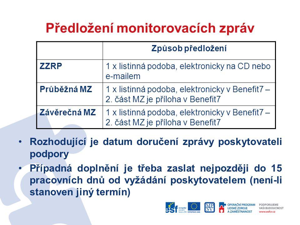Předložení monitorovacích zpráv Rozhodující je datum doručení zprávy poskytovateli podpory Případná doplnění je třeba zaslat nejpozději do 15 pracovních dnů od vyžádání poskytovatelem (není-li stanoven jiný termín) Způsob předložení ZZRP1 x listinná podoba, elektronicky na CD nebo e-mailem Průběžná MZ1 x listinná podoba, elektronicky v Benefit7 – 2.