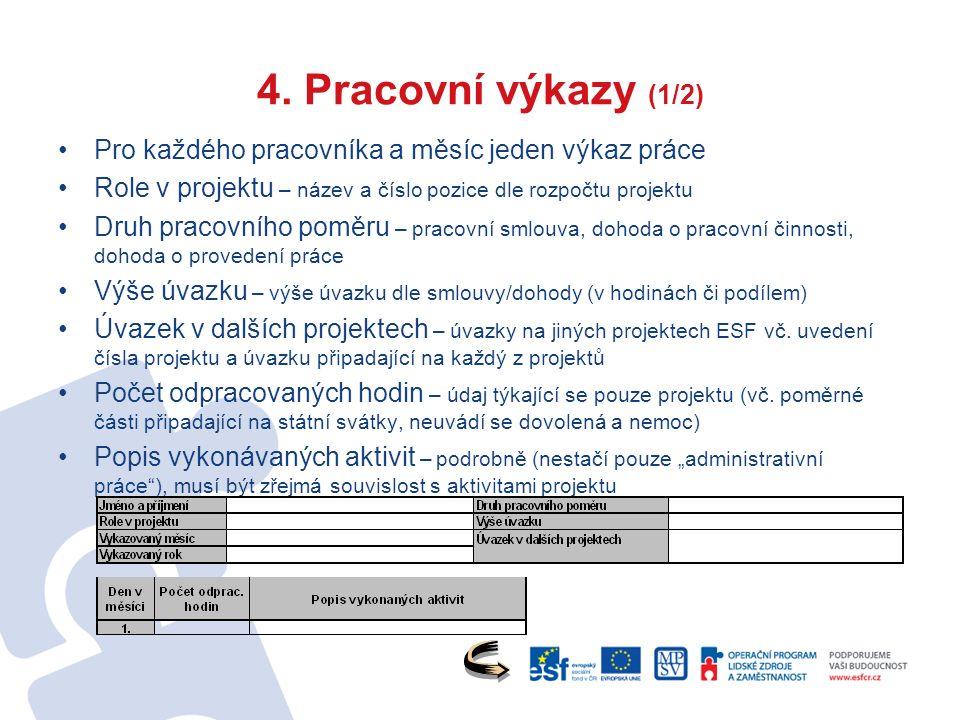 4. Pracovní výkazy (1/2) Pro každého pracovníka a měsíc jeden výkaz práce Role v projektu – název a číslo pozice dle rozpočtu projektu Druh pracovního