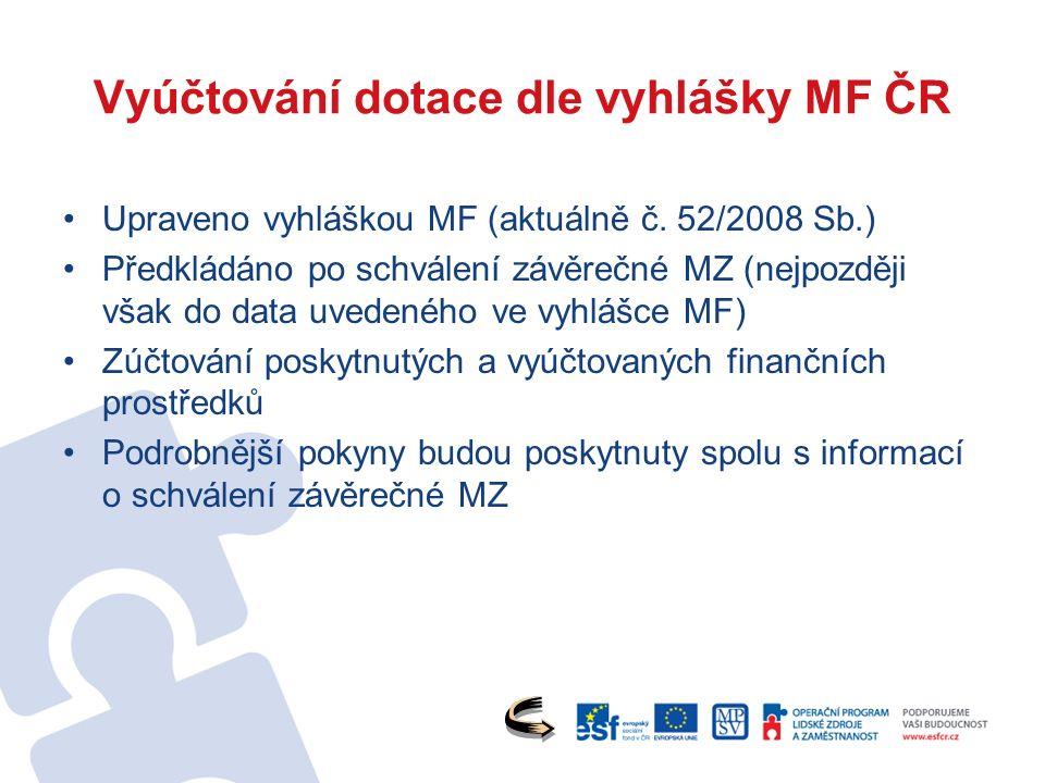 Vyúčtování dotace dle vyhlášky MF ČR Upraveno vyhláškou MF (aktuálně č.