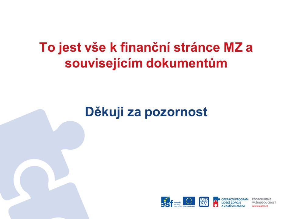 To jest vše k finanční stránce MZ a souvisejícím dokumentům Děkuji za pozornost